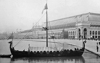 "World's fair - ""Viking"" replica of the Gokstad Viking ship at the 1893 Chicago World's Fair"