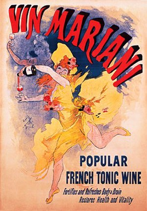 Coca wine - Advertising bill for the wine Mariani, lithograph of Jules Chéret, 1894