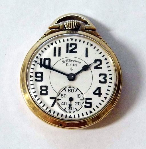 Vintage Elgin Railroad Pocket Watch, 10 K Gold Filled Case, 21 Jewels, 8 Adjustments (9763729373)