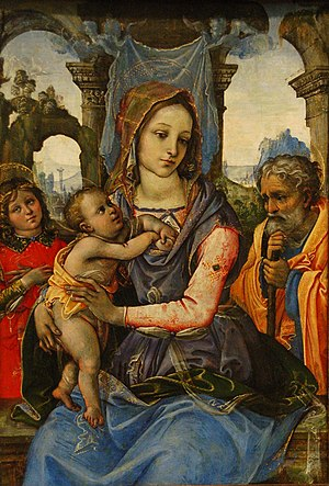 Raffaellino del Garbo - Madonna and Child with saint Joseph and an Angel