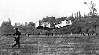Santos-Dumont 14-bis - The 14-bis flying over Bagatelle grounds on 23 October.