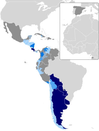 Rioplatense Spanish - In this map of voseo countries, the spread of the dialect is clearly illustrated. Argentina, Uruguay and Paraguay are represented by dark blue on the map, Rioplatense Spanish is spoken in these regions. Argentina is the largest country that uses the voseo, and it is associated as exclusively belonging to that nation.