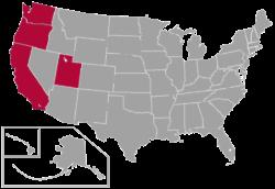 Standorte der West Coast Conference