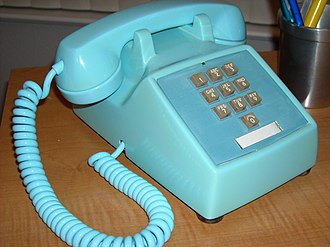 Model 500 telephone - Western Electric model 1500D, made in March 1968 in the color aqua blue with hardwired handset and line cords