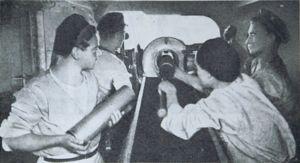 Riverine Flotilla of the Polish Navy - The interior of a gun turret during a pre-war  exercise.