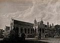 Wadham College, Oxford; from the garden. Line engraving by J Wellcome V0014184.jpg