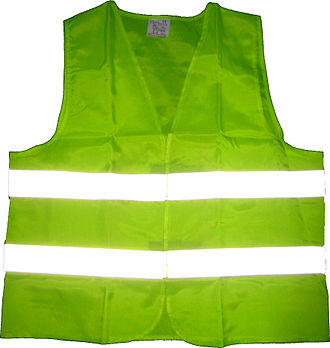 High-visibility clothing - Fluorescent green safety vest with retroreflective strips