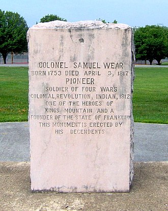 Pigeon Forge, Tennessee - Monument honoring Samuel Wear in Pigeon Forge City Park