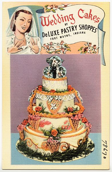 File:Wedding cakes by DeLuxe Pastry Shoppes, Fort Wayne, Indiana (78670).jpg