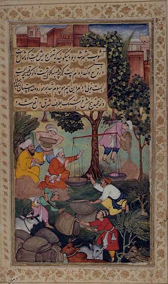 Weight - Image: Weighing grain, from the Babur namah