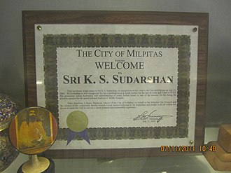 Rashtriya Swayamsevak Sangh - Welcome from City of Milpitas California, USA to K Sudarshan