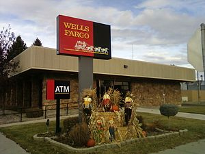 Wells Fargo bank in Conrad, Montana with autum...