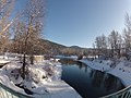 Wenatchee River and Pedestrian Bridge to Blackbird Island Leavenworth Washington.jpg