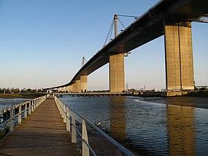 West Gate Bridge - The West Gate Bridge as seen from the walkway near the West Gate Bridge Memorial Park