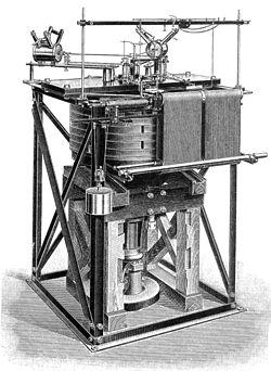 Dessin par Galitzine (1914) d'un sismographe Wiechert marquant l'introduction de l'amortissement du mouvement en sismomètrie