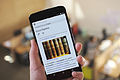 """Wikipedia """"Encyclopedia"""" article on a large Android phone, 2015-04-16.jpg"""