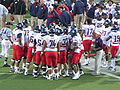 Wildcats in huddle at Arizona at Cal 2009-11-14 1.JPG
