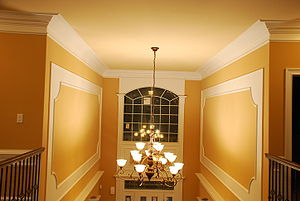 Foyer Crown molding and Wall panels.