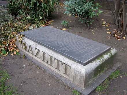 The site of Hazlitt's grave in the churchyard of St Anne's, Soho, with a new memorial commissioned following a campaign led by Tom Paulin. William Hazlitt memorial.JPG