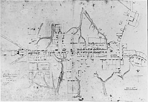 "Colonial Williamsburg - The ""Frenchman's Map"" showing Williamsburg in 1782; the map was a key piece of evidence in the restoration project"