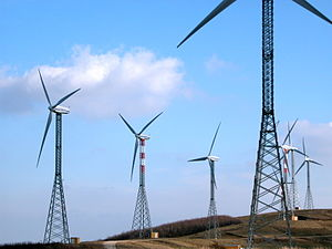 Economy of Ghana - Wind turbines on a wind farm