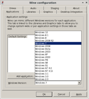 winecfg (Wine configuration) in 32bit mode, the official configuration program for WINE