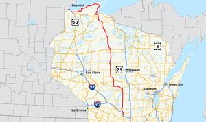 Wisconsin Highway 13 - Image: Wis 13 map