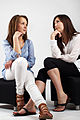 Woman in white Shirt and black pants and Woman in blue shirt and white pants 01.jpg