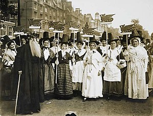 Women's suffrage in Wales - Welsh suffragists in traditional dress at the Women's Coronation Procession in London, 1911