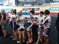 Women's team sprint, lineup for the podium.jpg