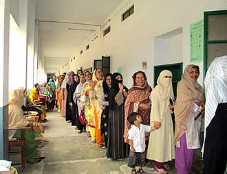 Human rights in Pakistan - Women in Rawalpindi queuing to vote in Pakistan's 2013 elections.