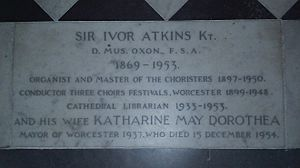 Ivor Atkins - Worcester Cathedral, grave of Sir Ivor Atkins and his wife in the nave