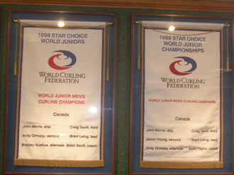 World Junior Curling Championships - World Junior Championship banners awarded to John Morris and his two teams from 1998 and 1999.