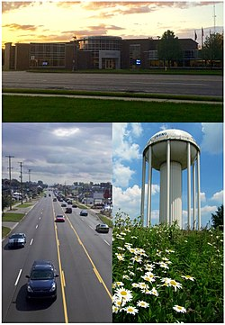 From top, left and right: Wyoming City Hall. Looking east down 28th Street, the city's main commercial route. Water tower near Gezon Park.