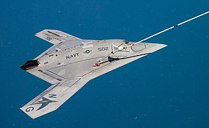 X-47B receiving fuel from a 707 tanker while operating in the Atlantic Test Ranges.jpg