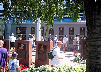 Monument Park (Yankee Stadium) - The original Monument Park consisted of a row of monuments with plaques lining the wall behind them