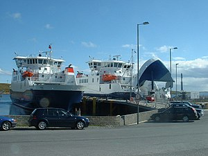 North Isles - Daggri (dawn) and Dagalien (dusk) at Ulsta. These are ferries that run between Toft on Mainland and Yell