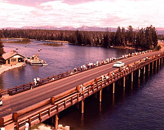 Yellowstone River - Image: Yellowstone River Fishing Bridge 1959