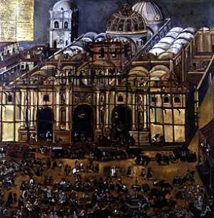 Antigua Guatemala - Construction of the Cathedral of Santiago de Guatemala in 1678. Painting by Antonio Ramírez Montúfar