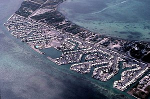 Cudjoe Key, Florida - An aerial view of the Venture Out resort, on the southeast side of Cudjoe Key, in 1983