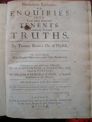 Pseudodoxia Epidemica - Title-page of 1658 4th edition of Pseudodoxia Epidemica
