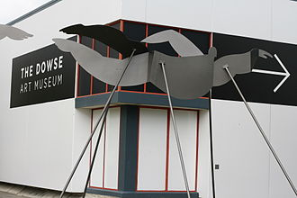 Dowse Art Museum - One of Paul Dibble's 'Swimmers in Space' in front of The Dowse Art Gallery