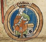 Depiction of Æthelbald, King of Wessex, in a 14th century royal genealogy