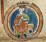Æthelbald depicted in a 14th-century royal genealogy