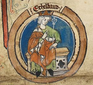 Æthelbald, King of Wessex - Æthelbald in the early fourteenth century Genealogical Roll of the Kings of England