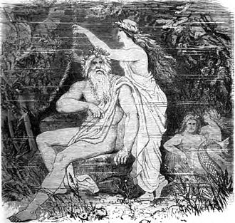 Rán - Rán pulls her net beside her husband Ægir as depicted by Friedrich Wilhelm Heine (1845–1921) after an original by Friedrich Wilhelm Engelhard (1813–1902)