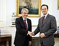 Επίδοση διαπιστευτηρίων Επικεφαλής Γ.Σ. ΠΓΔΜ κ. S. Stefkov στον ΥΠΕΞ κ. Δ. Δρούτσα (5348828003).jpg