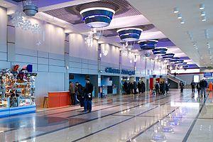Omsk Tsentralny Airport - Inside Omsk Airport main terminal.