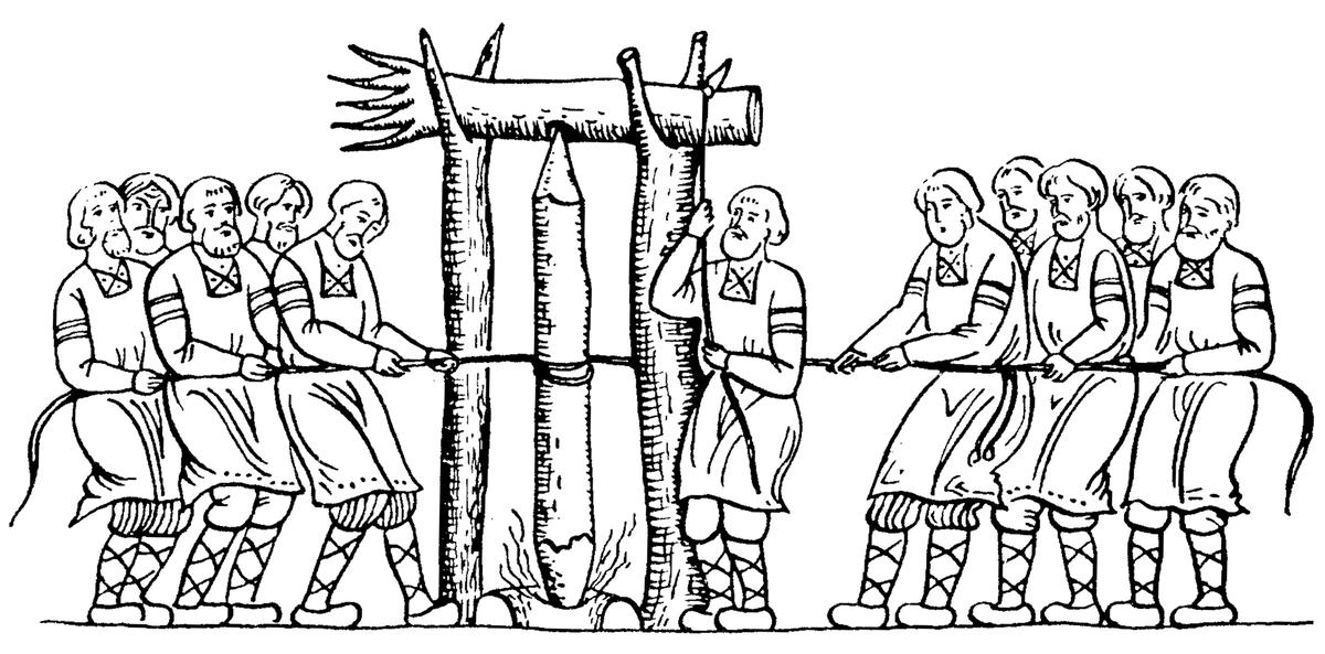 Древнеславянская гравюра добывания «живого огня» через трение