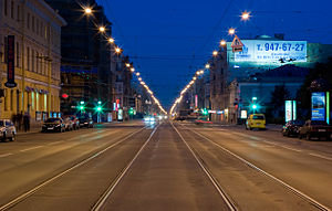 Night view of Liteyny Prospekt (one of the major streets in Saint Petersburg)